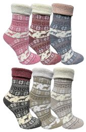36 Units of Yacht & Smith Womens Thick Soft Knit Wool Warm Winter Crew Socks, Patterned Lambswool, Fair Isle Print - Womens Thermal Socks
