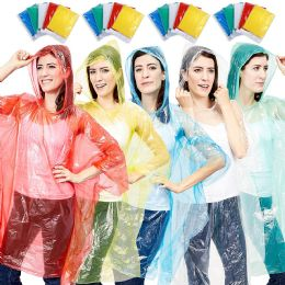 200 of Yacht & Smith Unisex One Size Reusable Rain Poncho Assorted Colors 60g pe