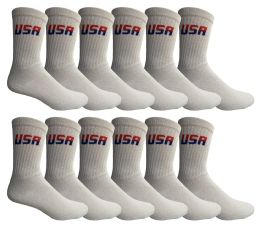 72 Units of Yacht & Smith Men's King Size Cotton Terry Cushion Crew Socks Usa Size 13-16 Bulk Pack - Big And Tall Mens Crew Socks