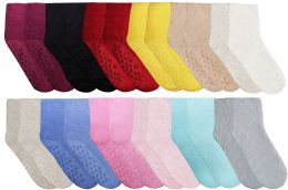 240 Units of Yacht & Smith Women's Solid Color Gripper Fuzzy Socks Assorted Colors, Size 9-11 - Women's Socks for Homeless and Charity