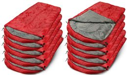 50 Units of Yacht & Smith Temperature Rated 72x30 Sleeping Bag Solid Red - Sleep Gear