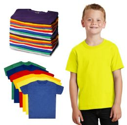 576 Units of Kids Unisex Cotton Crew Neck T-Shirts, Assorted Sizes And Colors, Ages 4-12 - Kids Clothes Donation