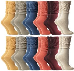 72 Units of Yacht & Smith Slouch Socks For Women, Assorted Colors Size 9-11 - Womens Scrunchie Sock - Womens Crew Sock