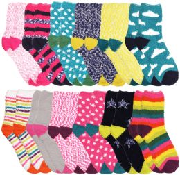 96 Units of Yacht & Smith Women's Assorted Printed Fuzzy Socks Assorted Colors, Size 9-11 - Womens Fuzzy Socks