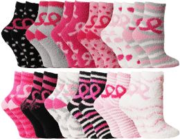 96 Units of Yacht & Smith Women's Breast Cancer Awareness Fuzzy Socks, Asst Prints Size 9-11 - Breast Cancer Awareness Socks