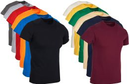 504 Units of Mens Cotton Crew Neck Short Sleeve T-Shirts Irregular , Assorted Colors And Sizes S-4XL - Mens Clothes for The Homeless and Charity