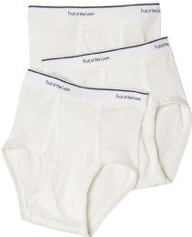 576 Units of Boys Cotton White Briefs Assorted Sizes 6-13 - Boys Underwear