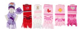 48 of Yacht & Smith Girls 3 Piece Winter Set , Hat Glove Scarf Assorted Prints Ages 1-8