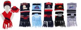 144 of Yacht & Smith Boys 3 Piece Winter Set , Hat Glove Scarf Assorted Prints Ages 1-8