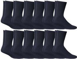 72 Units of Yacht & Smith Kids Cotton Crew Socks Navy Size 6-8 - Boys Crew Sock
