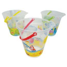 48 Units of Beach Pail 9 Inch Assorted Printed Ocean Designs - Beach Toys