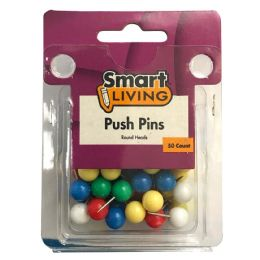 36 Wholesale Push Pins Round Head 50ct Assorted Colors