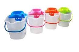 12 Units of Mop Bucket W/ringer And Wheel 4.5 Gal Astd Colors - Buckets & Basins