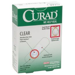 24 Bulk Bandages Curad 30ct Clear Plastic .75x3 Strips Boxed