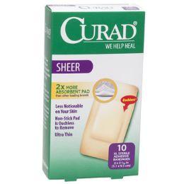 24 Bulk Bandages Curad Sheer Xl 10ct 2 X 4 Strips Boxed