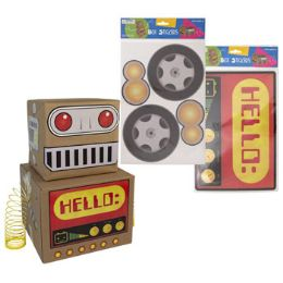 48 Units of Box Stickers Giant Size 5pgs Robot Or Car Decor Age 4+/pbh - Stickers
