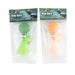 24 Wholesale Bike Horn 5.9in Orange Or Green Oppbag W/header