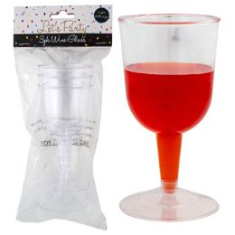 """24 Units of Wine Glass Plastic 3pk 5 Oz 2.5dx5""""h Party Polybag/header"""" - Plastic Drinkware"""