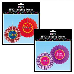 36 Units of Tissue Fan 2pk Party Hanging - Gift Wrap