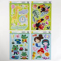 96 Units of Window/wall Cling Animal Fun 4as Zoo/frog/mermaid/toucan - Stickers