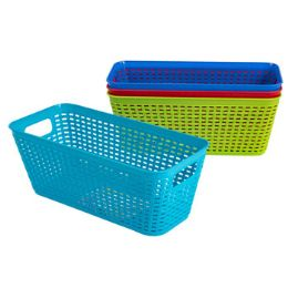 48 Units of Basket Long Rect 4 Colors In Pdq 11.8 X 5.3 X 4.7 - Baskets
