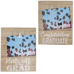 24 Wholesale Grad Photo Clip Board Frame Hanging 2ast 10.6x8.75in/mdf