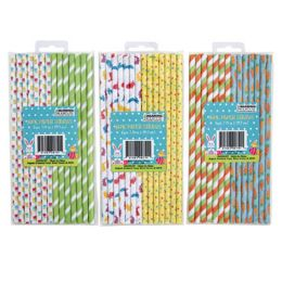 48 Wholesale Straws Paper Easter 14ct