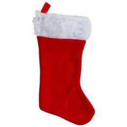 36 Units of Stocking Red 18in Felt W/plush - Christmas Stocking