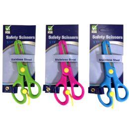 36 Wholesale Check Plus Safety Scissors 5.25 Astd Colors