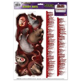 12 Units of Bloody Rats Toilet Tank Peel 'n Place - Hanging Decorations & Cut Out