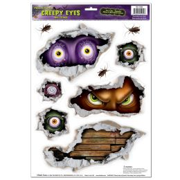 12 Units of Creepy Eyes Peel 'n Place - Hanging Decorations & Cut Out