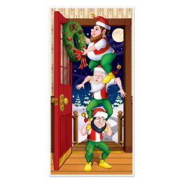 12 Units of Christmas Elves Door Cover Indoor & Outdoor Use - Photo Prop Accessories & Door Cover
