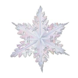 12 Units of Metallic Winter Snowflake Opalescent - Hanging Decorations & Cut Out