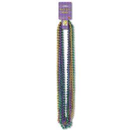 12 of Mardi Gras Small Round Beads Asstd Gold, Green, Purple