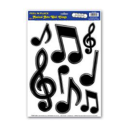 12 Units of Musical Notes Peel 'n Place Black - Hanging Decorations & Cut Out