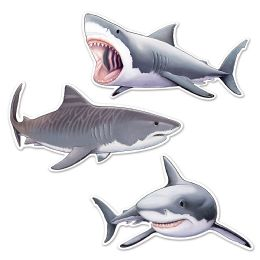 12 Units of Shark Cutouts Prtd 2 Sides - Hanging Decorations & Cut Out