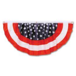 6 Units of Stars & Stripes Fabric Bunting Indoor & Outdoor Use; 3 Grommets - Photo Prop Accessories & Door Cover