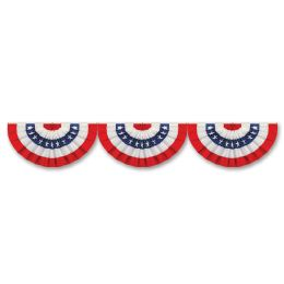 12 Bulk Jointed Patriotic Bunting Cutout Stars & Stripes Design; Prtd 2 Sides
