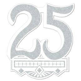 12 Units of 25th Anniversary Crest Glitter Print 1 Side - Hanging Decorations & Cut Out