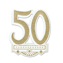 12 Units of 50th Anniversary Crest Glitter Print 1 Side - Hanging Decorations & Cut Out