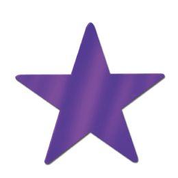 72 Units of Foil Star Cutout Purple; Foil 2 Sides - Hanging Decorations & Cut Out