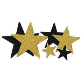 12 Units of Glittered Foil Star Cutouts Asstd Black & Gold; Foil 2 Sides/gltrd 1 Side; 2-5 , 2-9 , 2-12 - Hanging Decorations & Cut Out