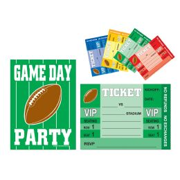 12 Wholesale Game Day Football Invitations Envelopes Included; Prtd 2 Sides