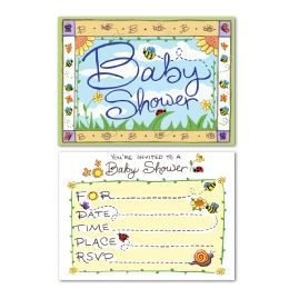 12 Wholesale B Is For Baby Invitations Envelopes Included; Prtd 2 Sides
