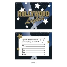 12 Wholesale Hollywood Lights Invitations Envelopes Included; Prtd 2 Sides