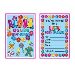 12 Wholesale Hula Baby Invitations Envelopes Included; Prtd 2 Sides