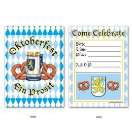 12 Wholesale Oktoberfest Invitations Envelopes Included; Prtd 2 Sides