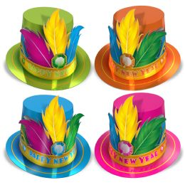 25 Wholesale Rio HI-Hats Asstd Colors; Prtd Feather Included; One Size Fits Most