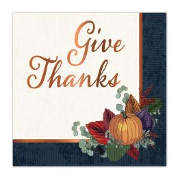 12 Wholesale Fall Thanksgiving Luncheon Napkins (2-Ply); Not Microwave Safe