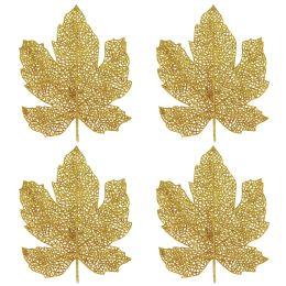 12 Wholesale Glittered Fall Leaves